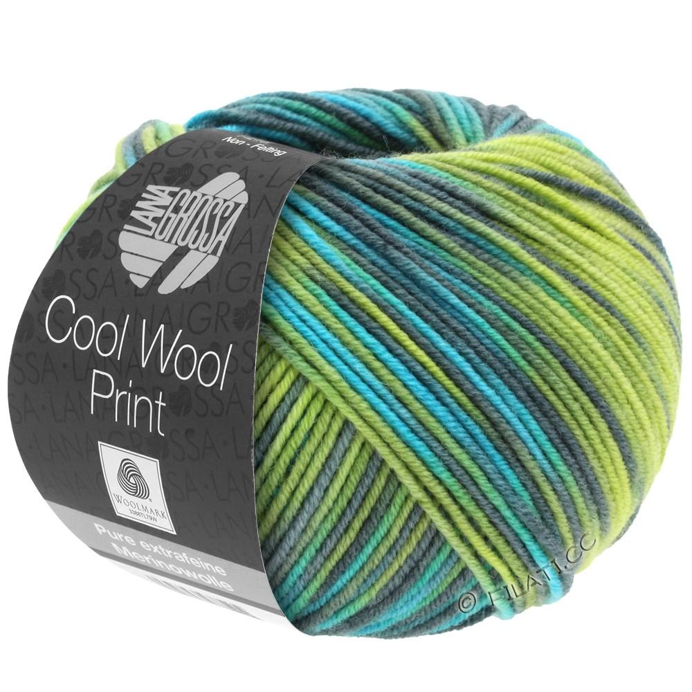 Lana Grossa COOL WOOL  Print | 784-vert clair/pomme verte/pétrole/turquoise