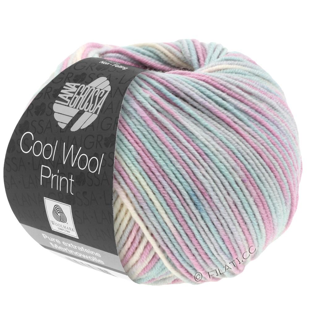Lana Grossa COOL WOOL  Print | 792-gris argent/menthe/lilas/rose pâle