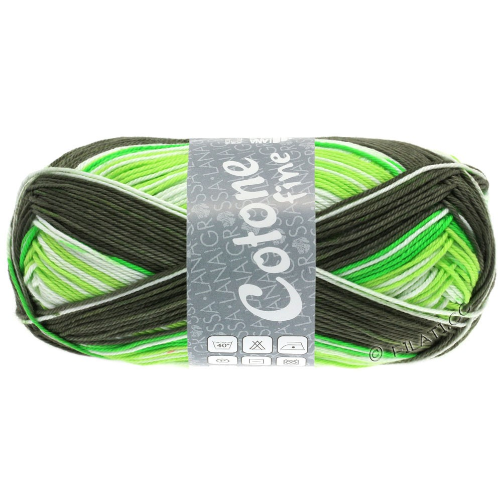 Lana Grossa COTONE FINE Print | 806-vert tendre/vert clair/vert mai/brun vert