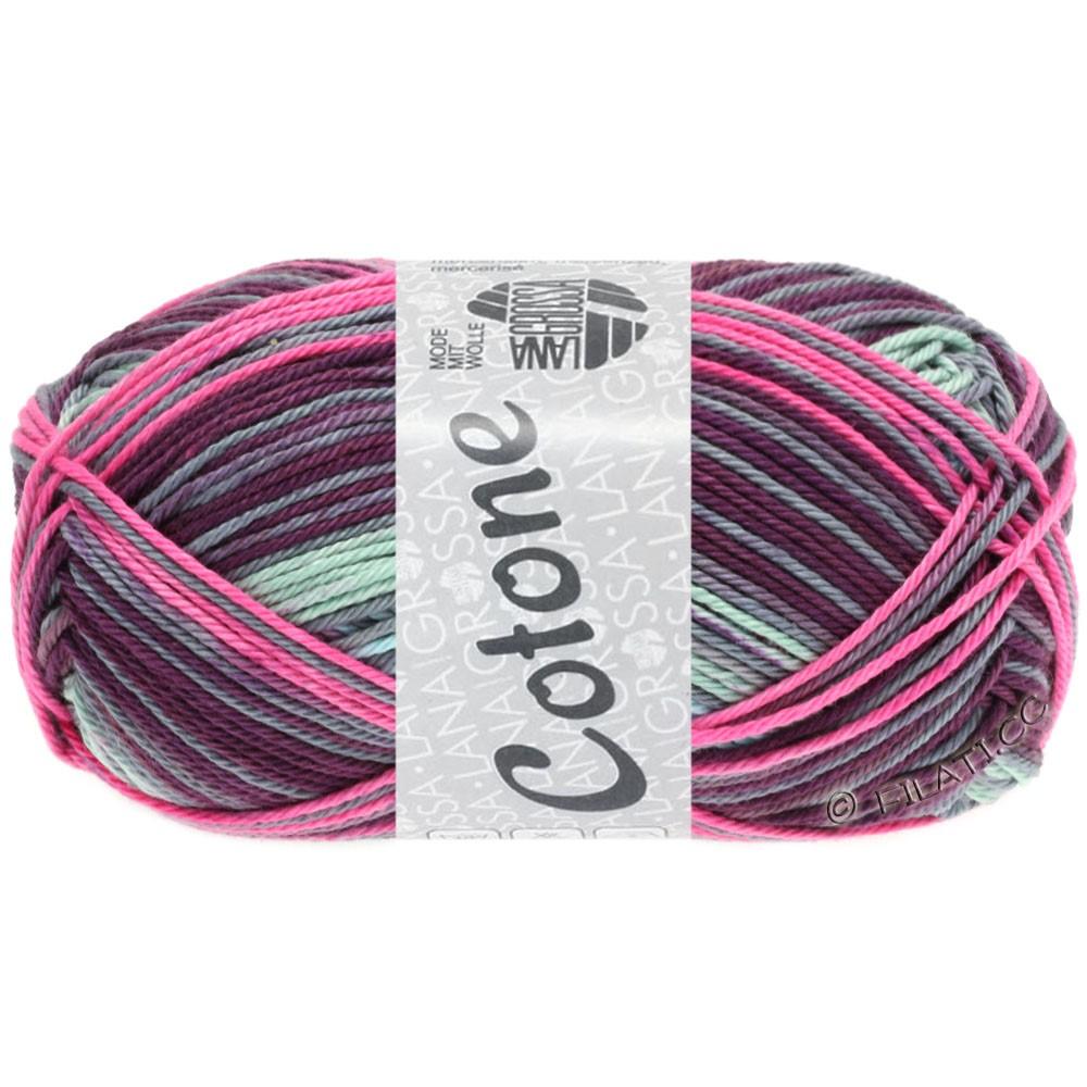Lana Grossa COTONE Print | 156-rose vif/prune/pourpre/bleu tendre/gris vert