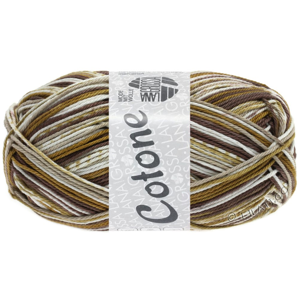 Lana Grossa COTONE Print | 159-blanc/grège/chameau/brun gris
