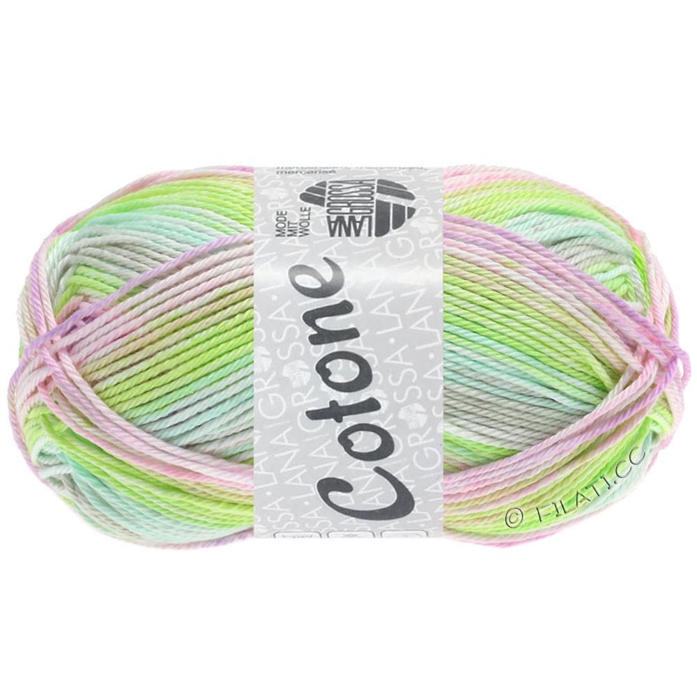 Lana Grossa COTONE  Print/Denim | 251-vert tendre/gris tendre/rosé/lilas clair/jaune vert