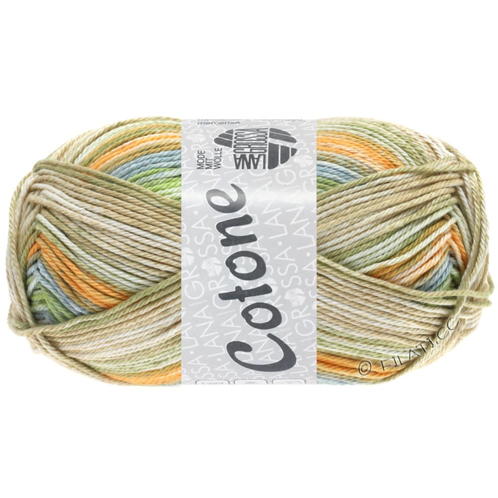 Lana Grossa COTONE  Print/Denim | 252-orange pâle/bleu gris/beige/vert tendre/kaki clair