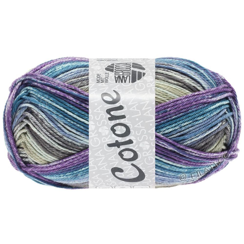 Lana Grossa COTONE  Print/Denim | 257-grège/violet/bleu pétrole/jean/taupe