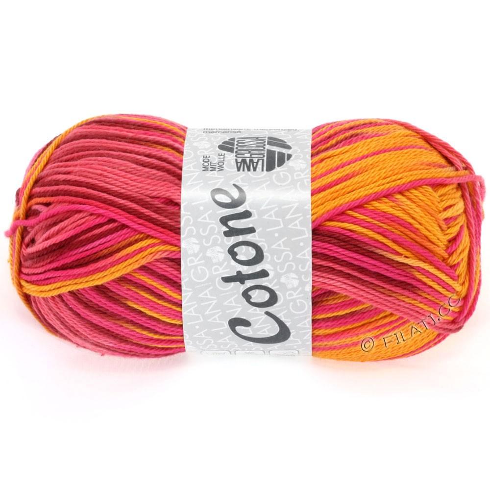 Lana Grossa COTONE Print   314-orange/rose vif/rouge vin/potiron