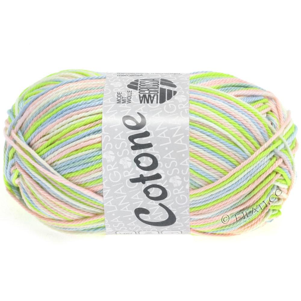 Lana Grossa COTONE Print | 316-blanc/bleu tendre/rosé/vert tendre