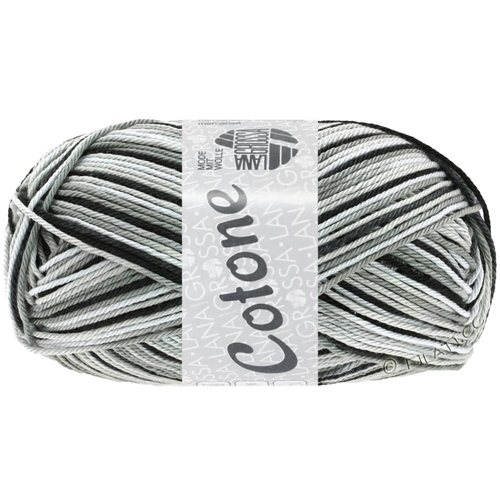 Lana Grossa COTONE Print | 317-blanc/gris argent/gris foncé/noir