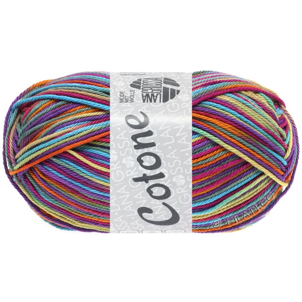 Lana Grossa COTONE  Print | 321-cyclamen/violet rouge/turquoise/orange/gris vert