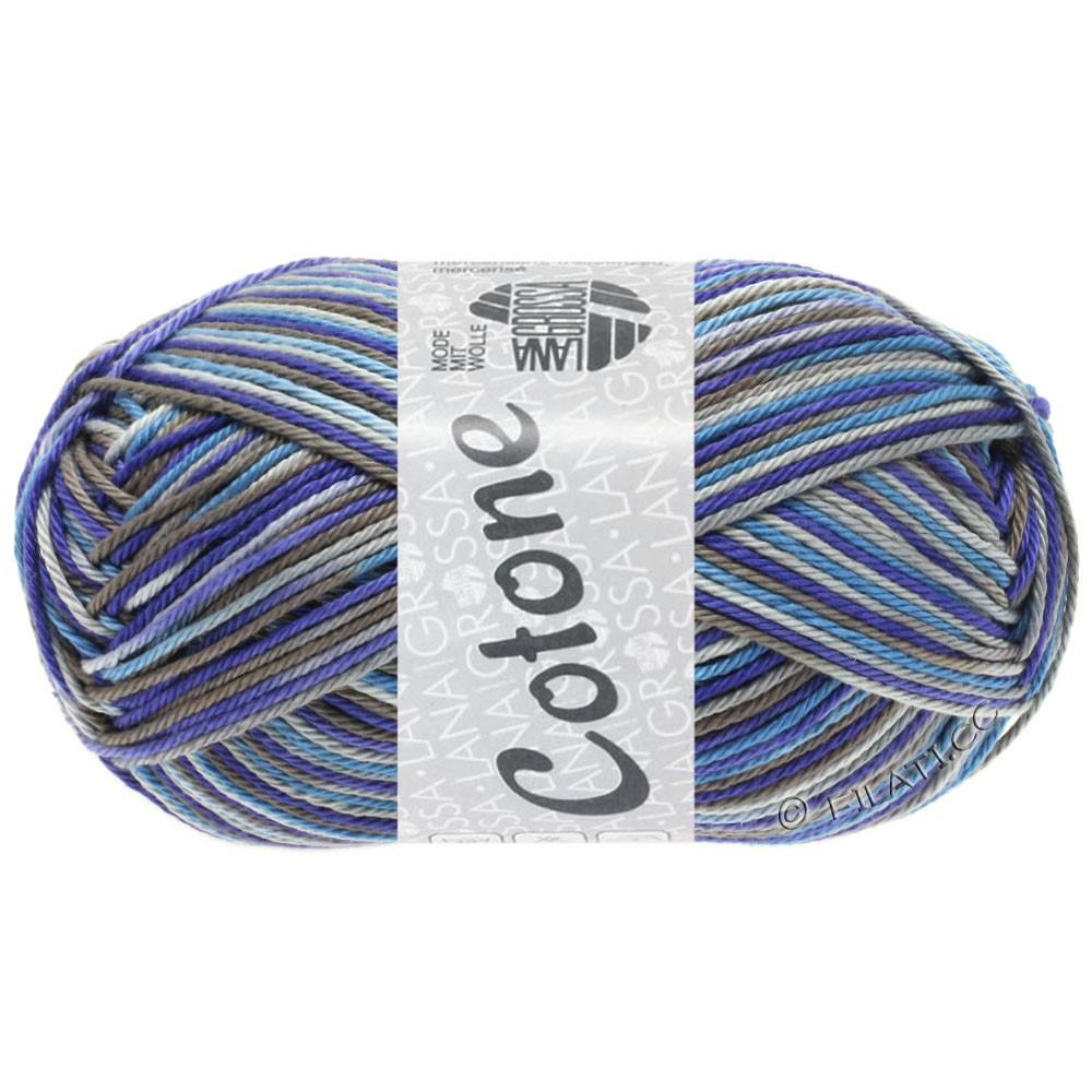 Lana Grossa COTONE  Print | 326-gris clair/gris foncé/violet bleu/bleu turquoise