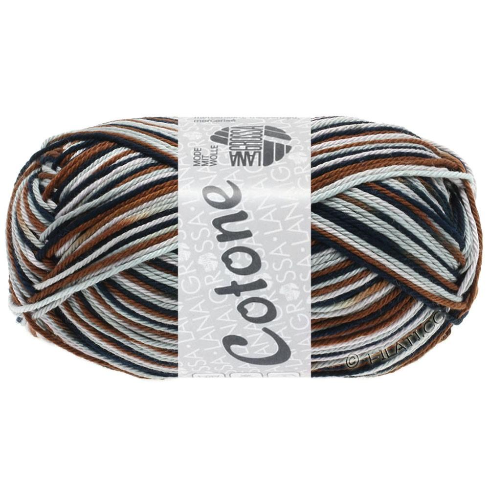 Lana Grossa COTONE  Print/Denim | 329-rose gris/gris clair/brun chocolat/noir