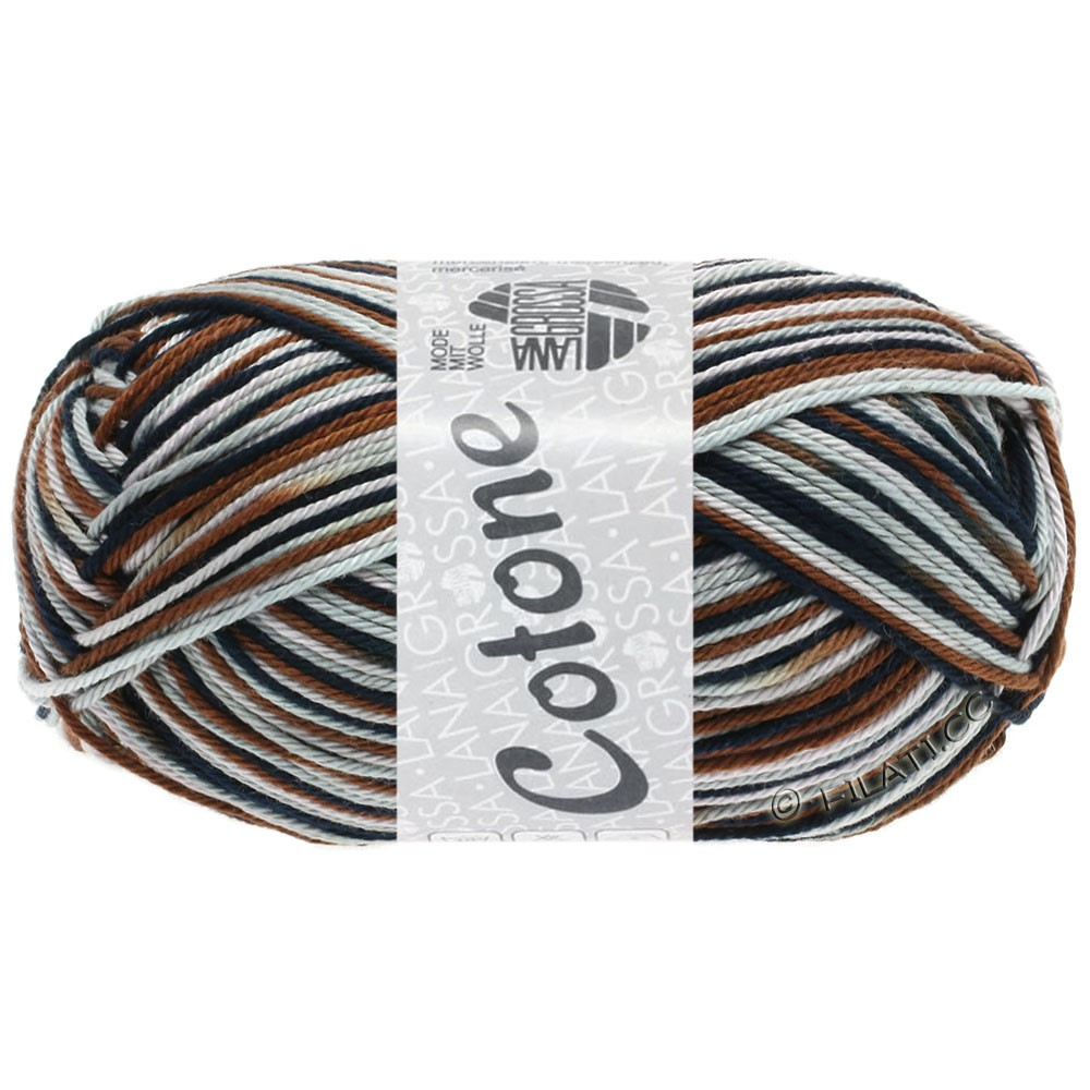 Lana Grossa COTONE  Print | 329-gris argent/gris clair/anthracite/brun chocolat