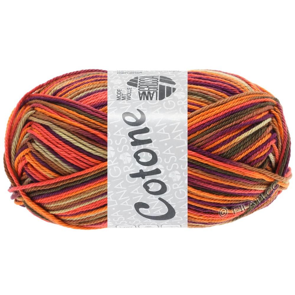 Lana Grossa COTONE  Print/Denim | 334-orange/beige/terre cuite/violet foncé/brun/brun foncé