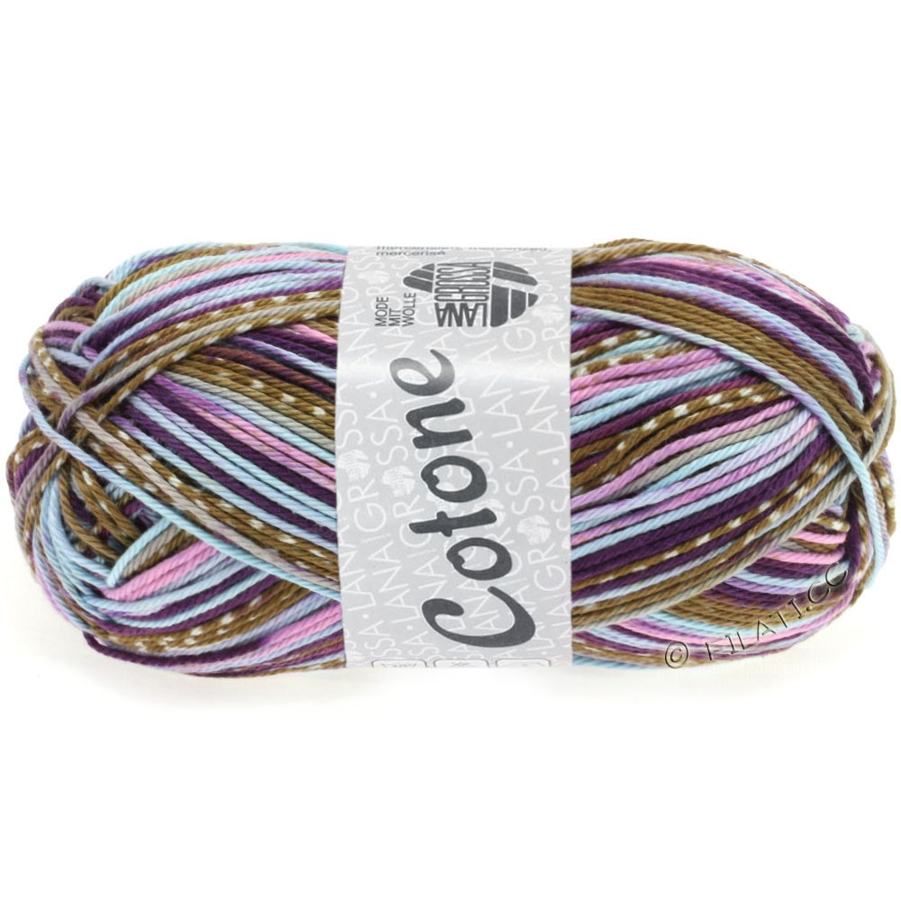 Lana Grossa COTONE Print   502-rose/violet foncé/bleu clair/brun/blanc