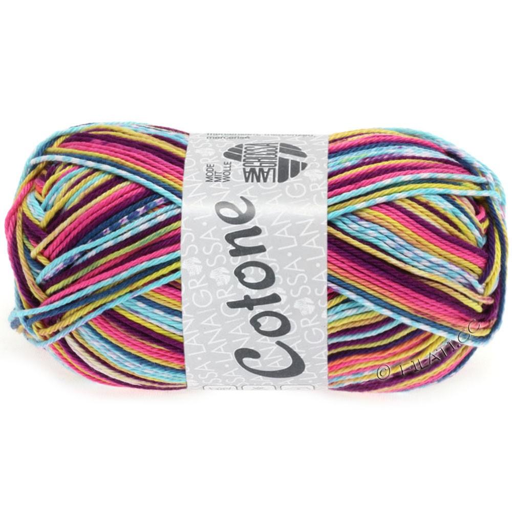 Lana Grossa COTONE Print   503-rose vif/violet foncé/jaune/menthe/bleu acier/blanc