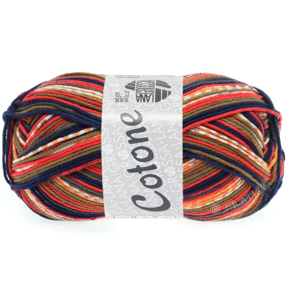 Lana Grossa COTONE Print   508-rouge brique/gris foné/bleu foncé/orange/blanc/brun