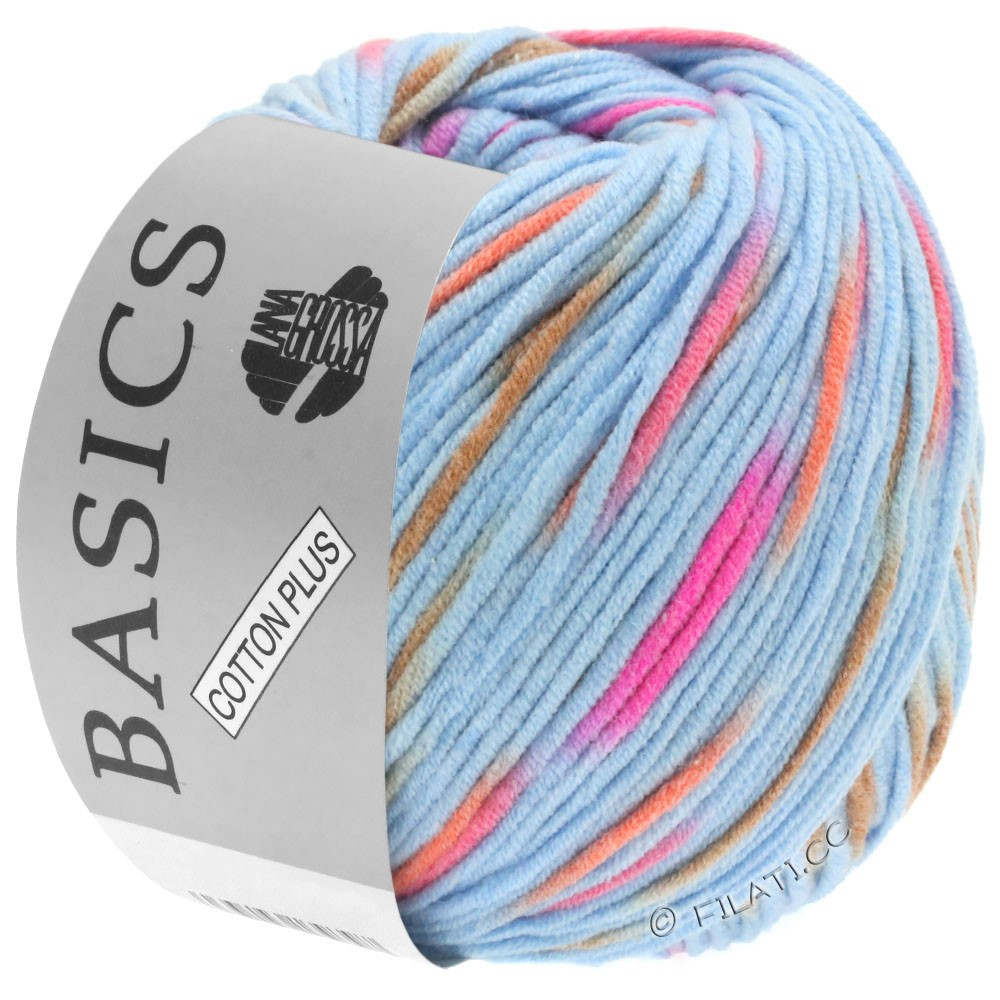 Lana Grossa COTTON PLUS   203-bleu clair/rose vif/orange/brun clair