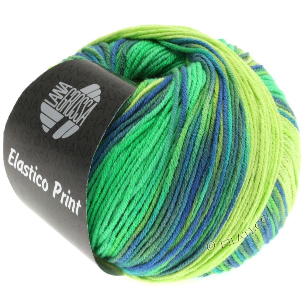 Lana Grossa ELASTICO  Uni/Print | 501-vert clair/vert lumineux/royal/gris vert