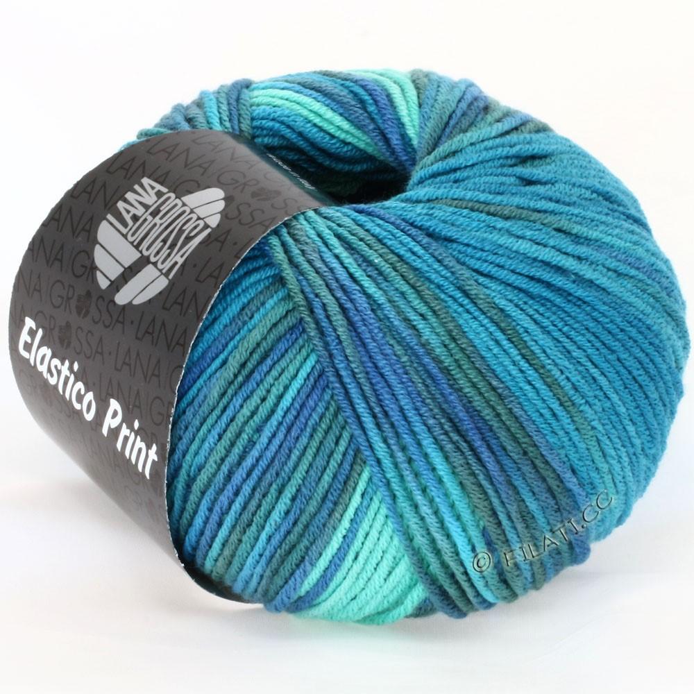 Lana Grossa ELASTICO  Uni/Print | 506-vert turquoise/bleu turquoise/pétrole/bleu gris