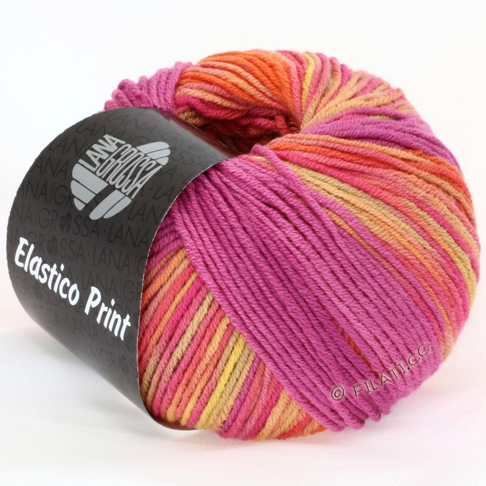 Lana Grossa ELASTICO  Uni/Print | 510-homard/chameau/framboise/rose vif/pêche
