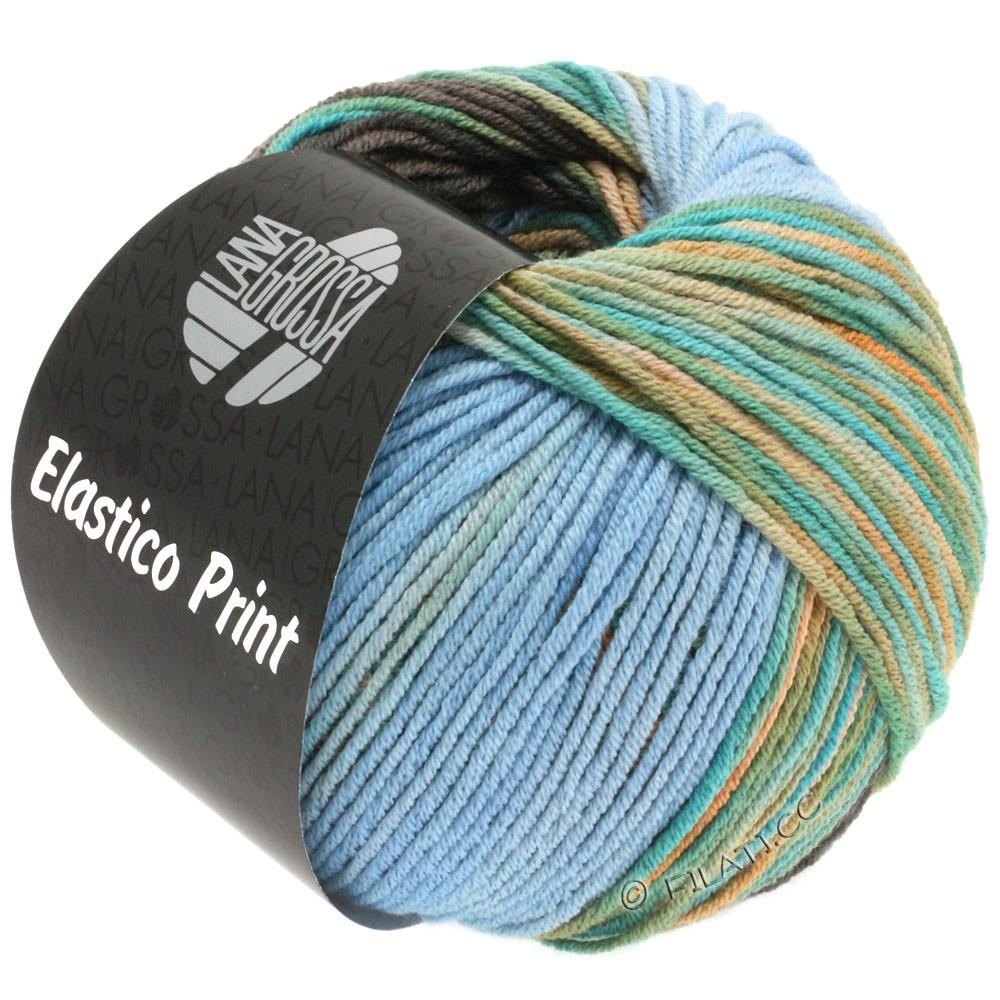 Lana Grossa ELASTICO  Uni/Print | 518-bleu clair/brun gris/turquoise/chameau/beige