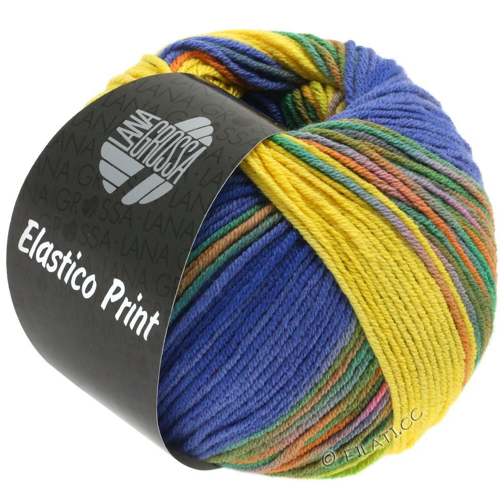 Lana Grossa ELASTICO  Uni/Print | 523-jaune/violet bleu/bleu nuit/vert/orange