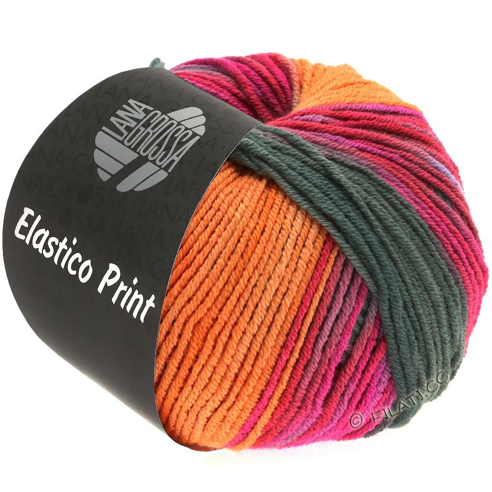 Lana Grossa ELASTICO  Uni/Print | 526-orange/kaki/rose vif/cyclamen