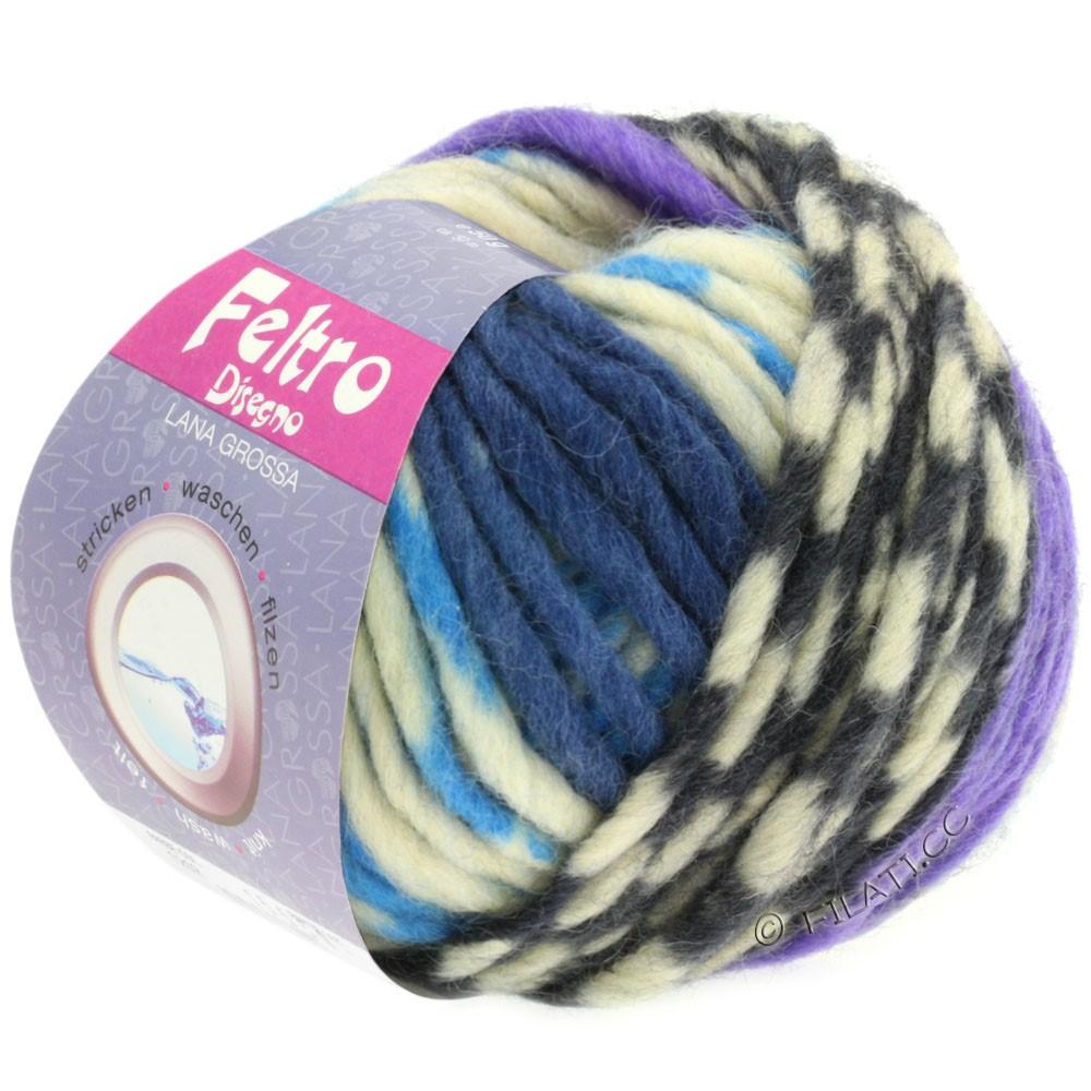 Lana Grossa FELTRO Disegno | 1206-écru/bleu clair/violet/jean/gris