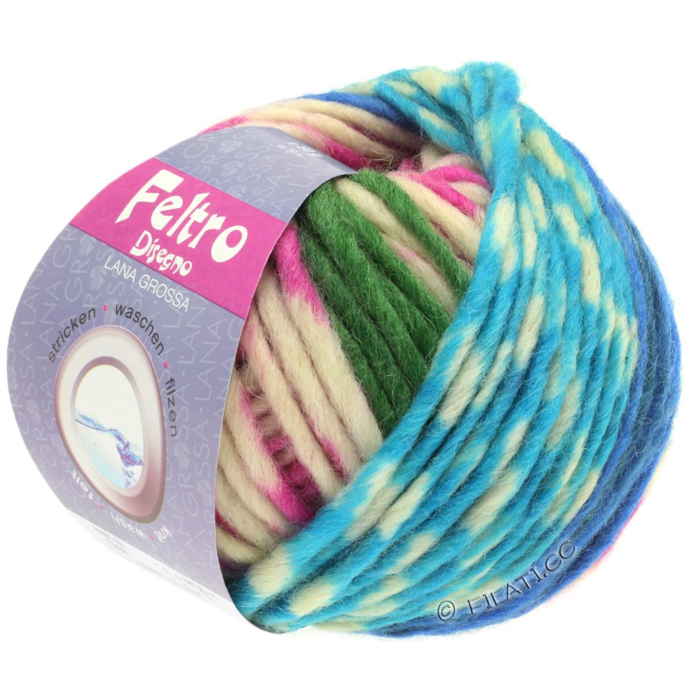 Lana Grossa FELTRO Disegno | 1211-écru/turquoise/rose vif/bleu/vert