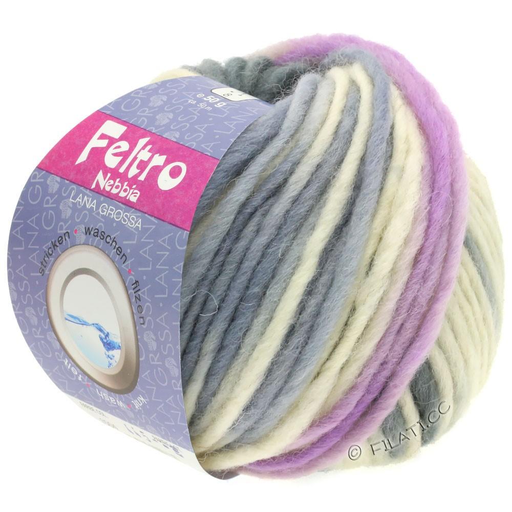 Lana Grossa FELTRO Nebbia | 1501-blanc/lilas/gris foncé/gris clair