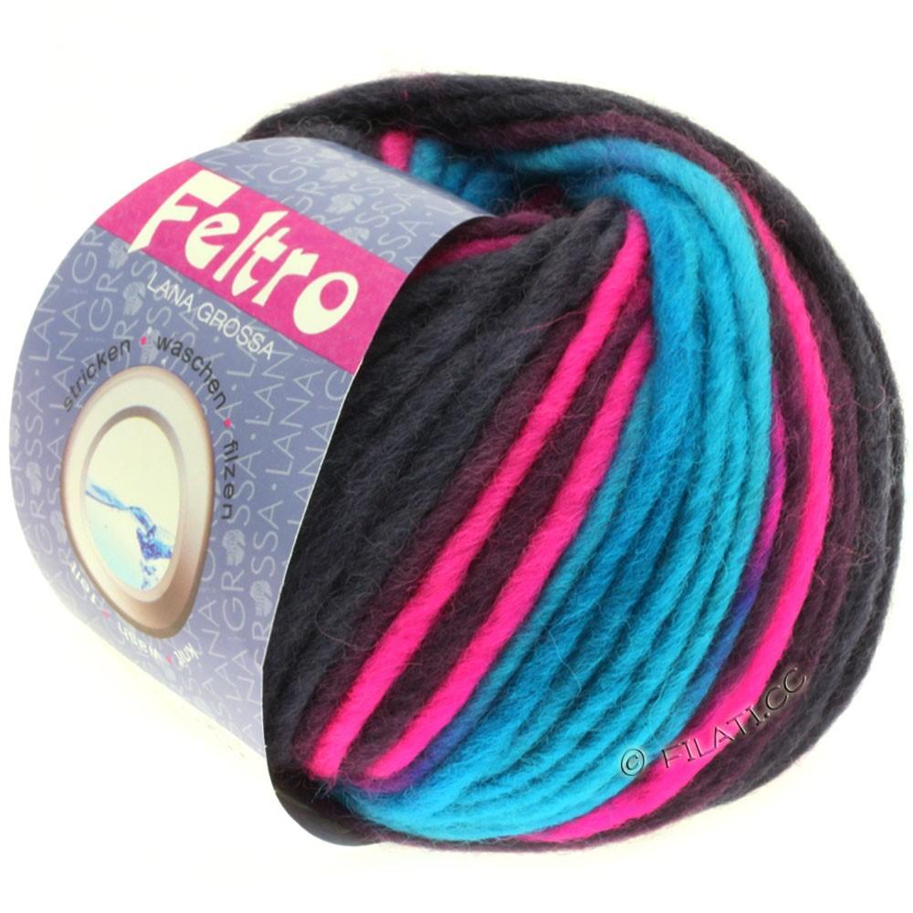 Lana Grossa FELTRO Print | 334-turquoise/rose vif/prune
