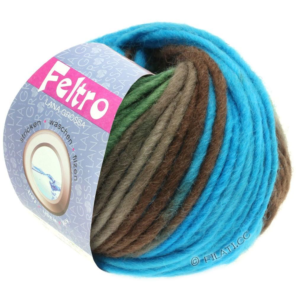 Lana Grossa FELTRO Print | 376-turquoise/brun gris/sapin