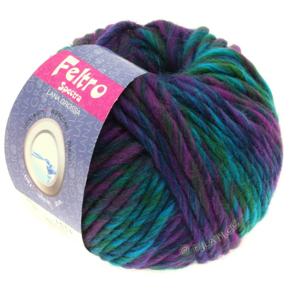 Lana Grossa FELTRO Spectra | 809-violet rouge/marine/turquoise/pétrole/vert bouteille