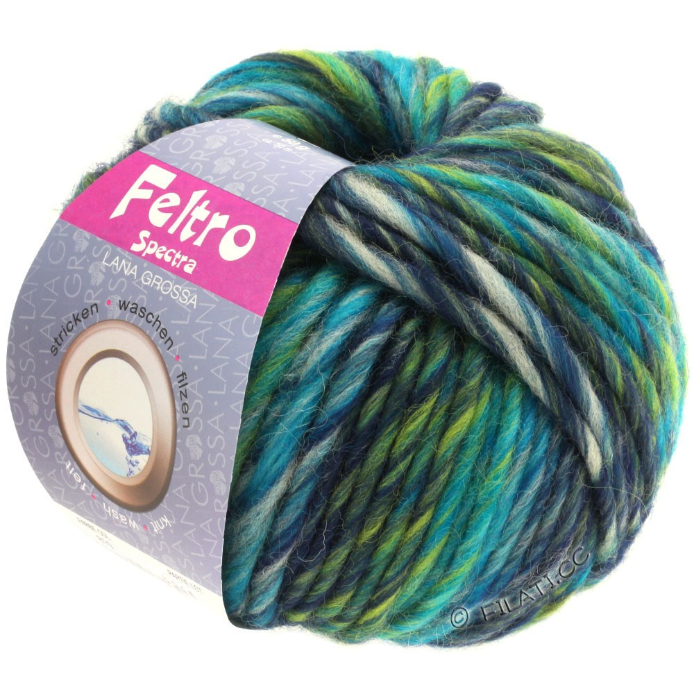 Lana Grossa FELTRO Spectra | 819-pétrole/gris clair/marine/vert jaune