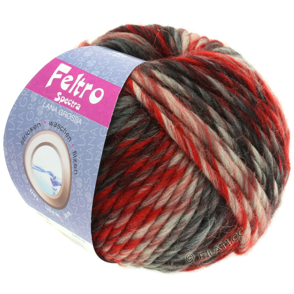 Lana Grossa FELTRO Spectra | 821-rouge/écru/noir/anthracite