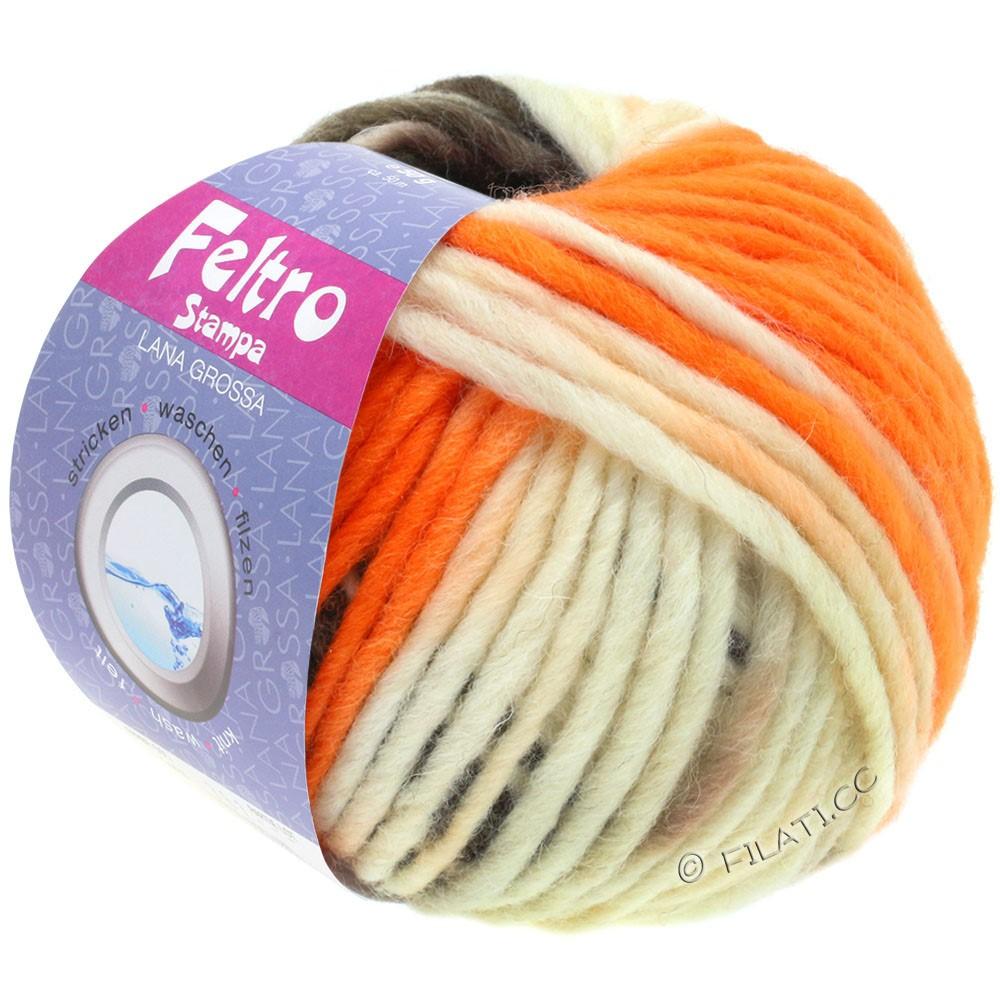 Lana Grossa FELTRO Stampa | 1401-écru/orange/taupe/brun gris
