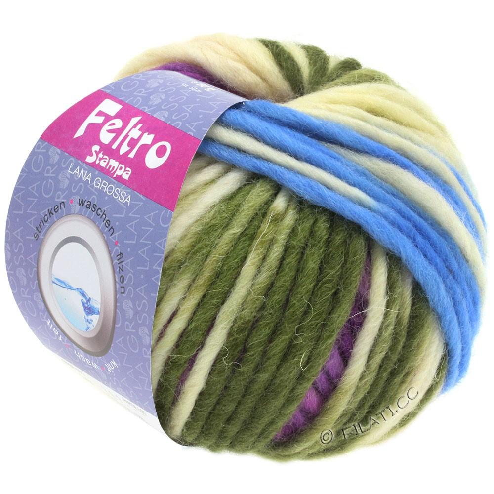 Lana Grossa FELTRO Stampa | 1402-écru/bleu clair/violet/vert foin