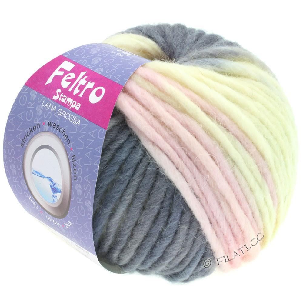 Lana Grossa FELTRO Stampa | 1409-écru/gris pourpre/lilas tendre/gris foncé