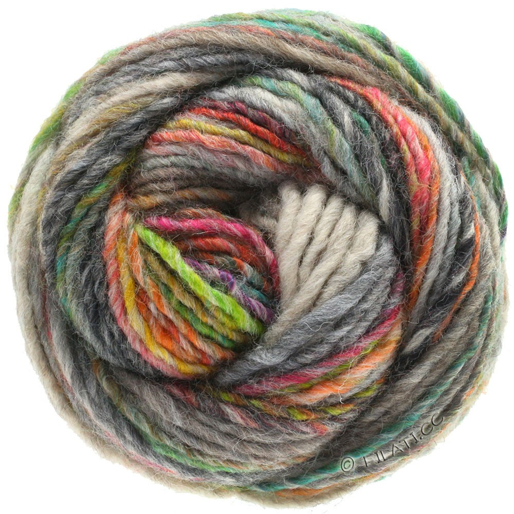 Lana Grossa GOMITOLO 100 | 103-gris vert/gris clair/jaune vert/émeraude/orange/anthracite