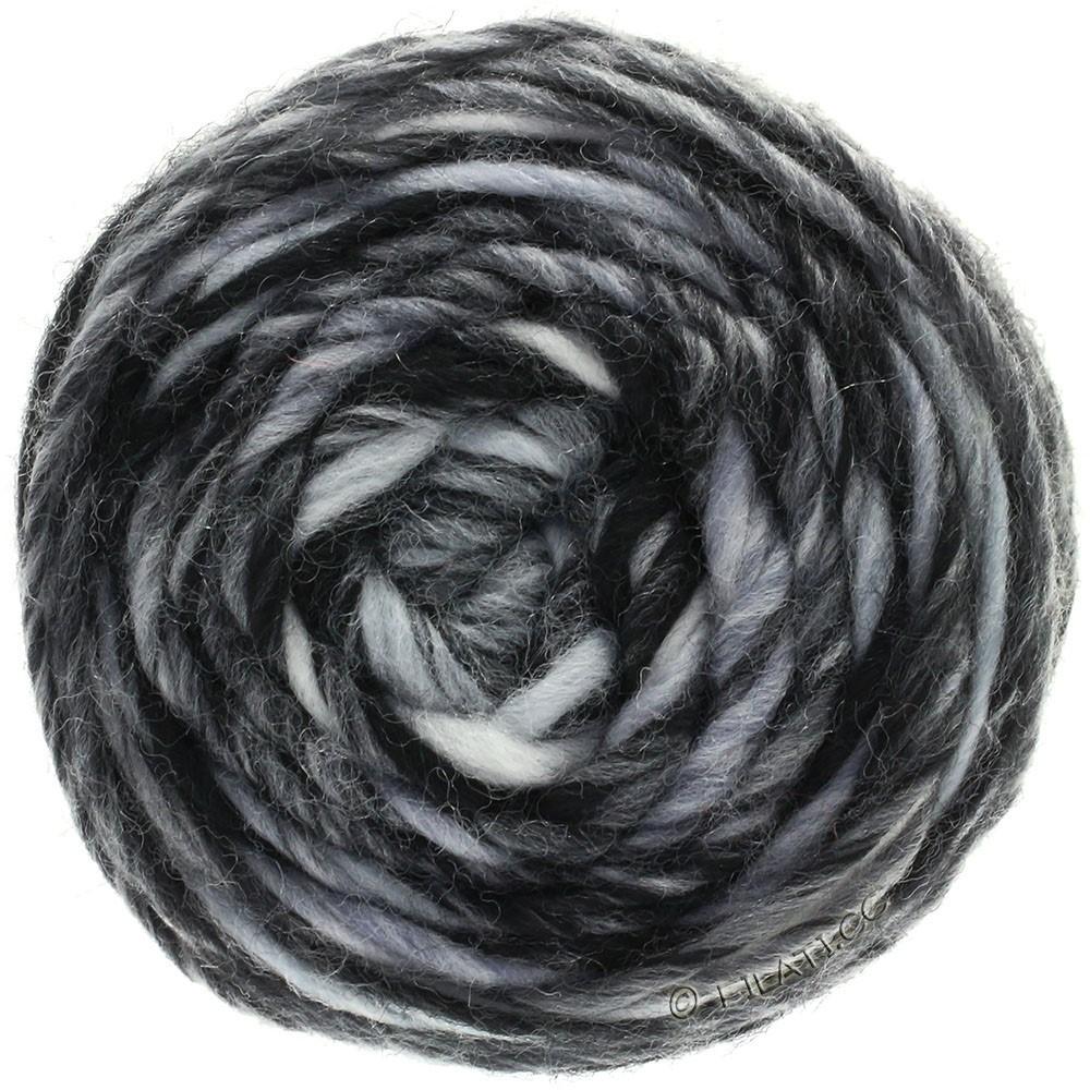Lana Grossa GOMITOLO Merino | 11-blanc/gris clair/gris foncé/noir