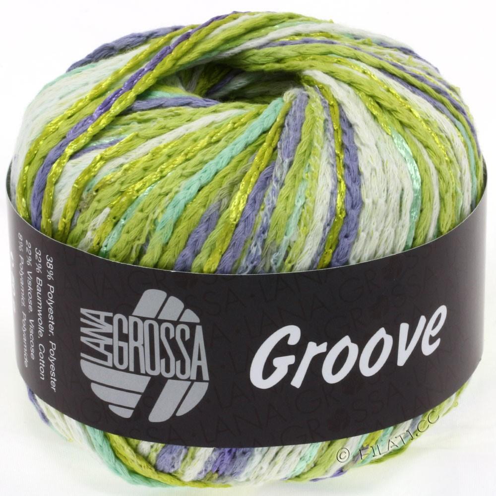 Lana Grossa GROOVE   07-beau vert/vert jaune/nature/pourpre
