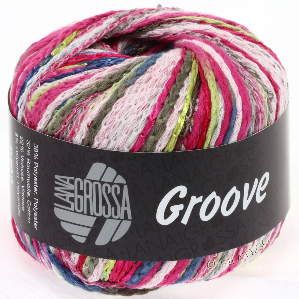 Lana Grossa GROOVE | 10-cyclamen/blanc/brun noir/bleu