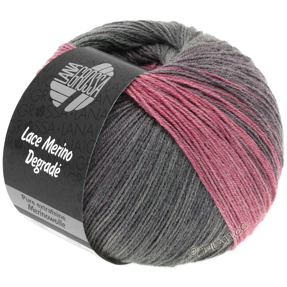 Lana Grossa LACE Merino Degradé | 405-mûre/anthracite/violet gris/vieux rose
