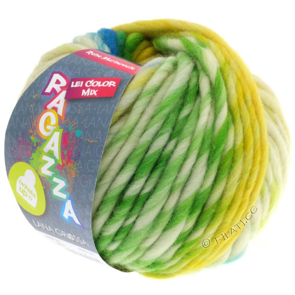 Lana Grossa LEI Mouliné/Color Mix/Spray (Ragazza) | 255-jaune/nature/turquoise/vert jaune