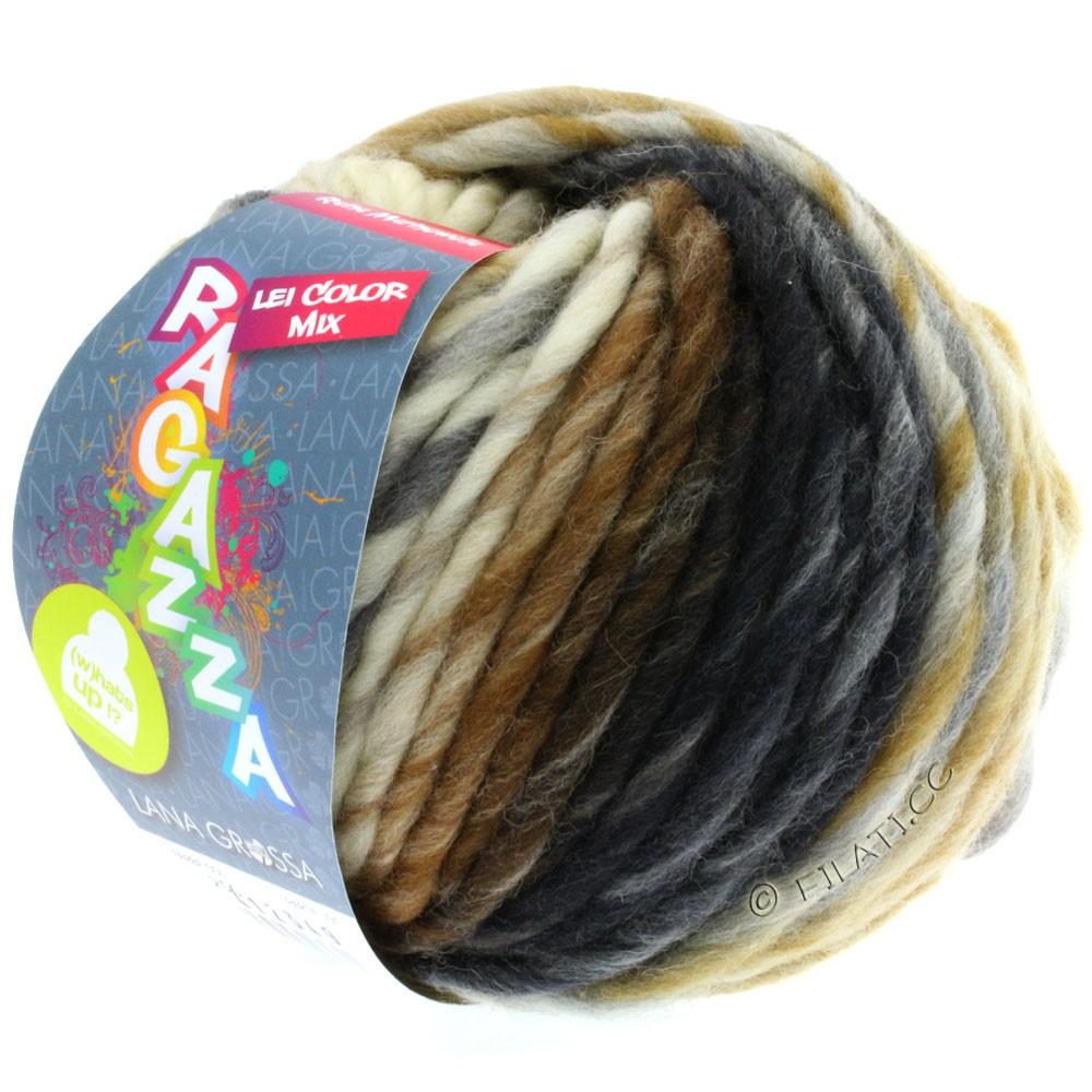 Lana Grossa LEI Mouliné/Color Mix/Spray (Ragazza) | 256-écru/gris clair/ocre/gris foncé