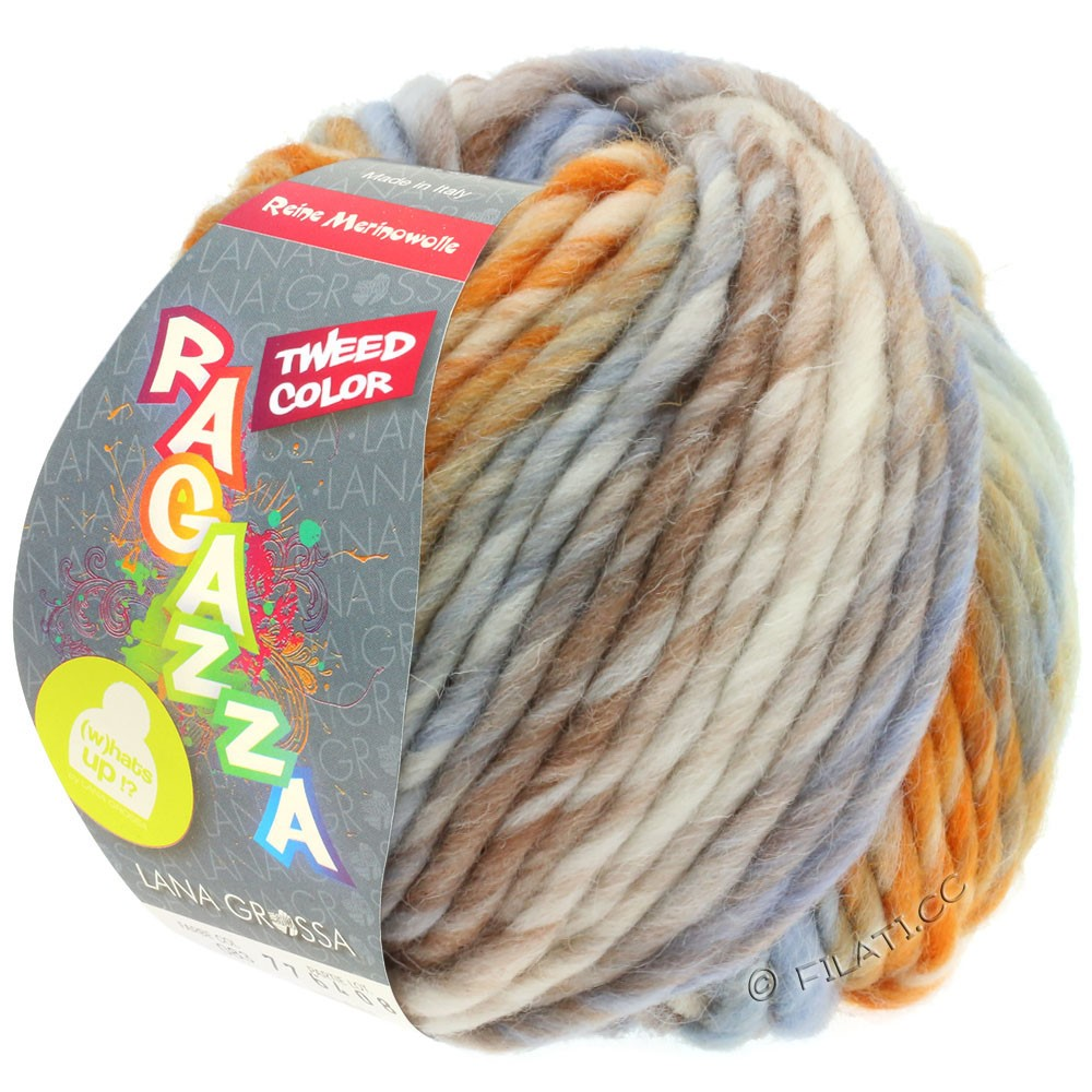 Lana Grossa LEI Tweed Color (Ragazza) | 404-nature/bleu clair/brun/orange chiné