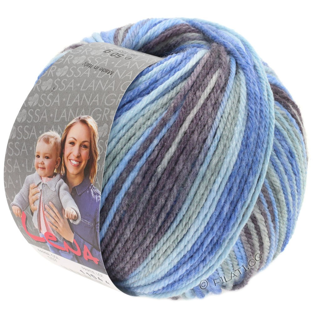 Lana Grossa LENA Print | 105-gris clair/jean/bleu clair/gris pourpre