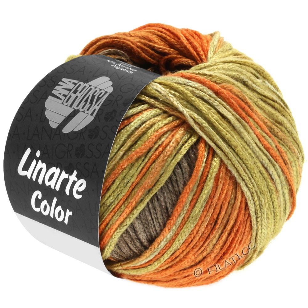 Lana Grossa LINARTE Color | 203-jaune olive/orange signal/brun cuivré/brun gris