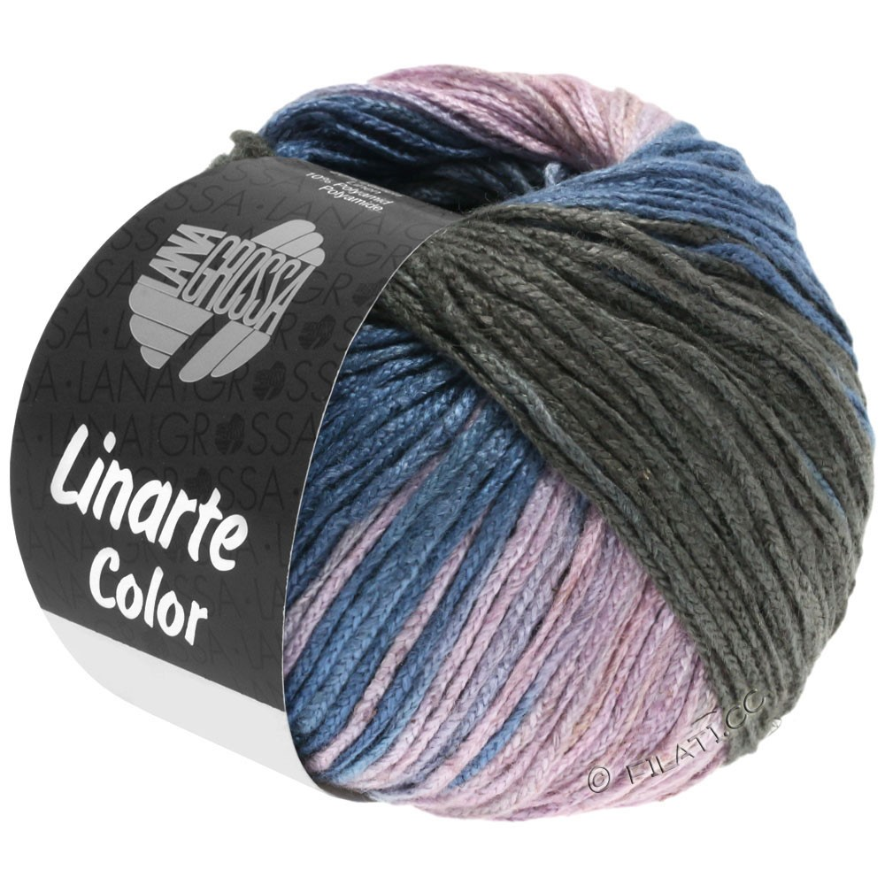 Lana Grossa LINARTE Color | 209-bleu gris/graphite/rosé/kaki