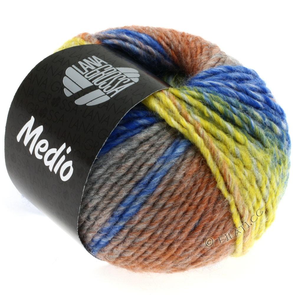 Lana Grossa MEDIO | 18-moutarde/gris clair/gris moyen/brun/bleu/nature