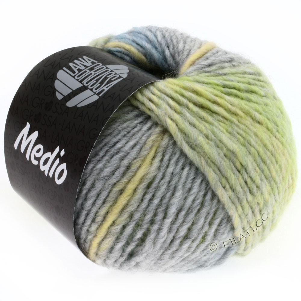 Lana Grossa MEDIO | 19-vanille/brun gris/grège/bleu clair/gris/beau vert